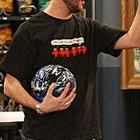 Wil Wheaton wearing Crush All Hu-mans Shirt