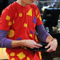 Sheldon wearing American Apparel Geometry shirt