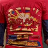 Sheldon's cool Kablaam shirt