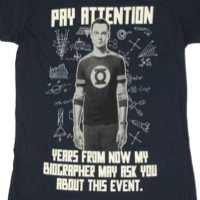 Sheldon Cooper Pay Attention Biographer Shirt
