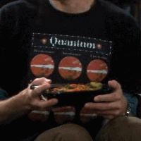 Sheldon wearing Thinker Clothing Quantum shirt