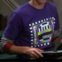 Sheldon's purple test pattern shirt